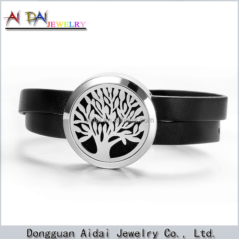 Double leather strap round floating tree of Life Hollow locket bracelet