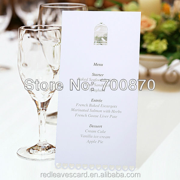Hot sale laser cut paper food menu cards made in china free standing