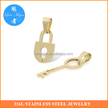 Fashion Lock and Key Stainless Steel Jewelry Couple PVD Gold Plated Pendants For Lovers