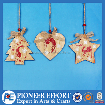 Wooden Christmas Tree Heart Star Hanging Decoration with Red Deer