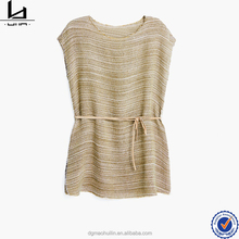 Dongguan Huimen Apparel drawstring waist short batwing sleeve striped linen ladies blouse and tops of gold