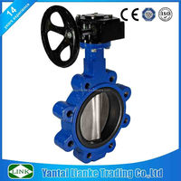 cast iron lug type flange end worm gear drive DN400 Butterfly Valve