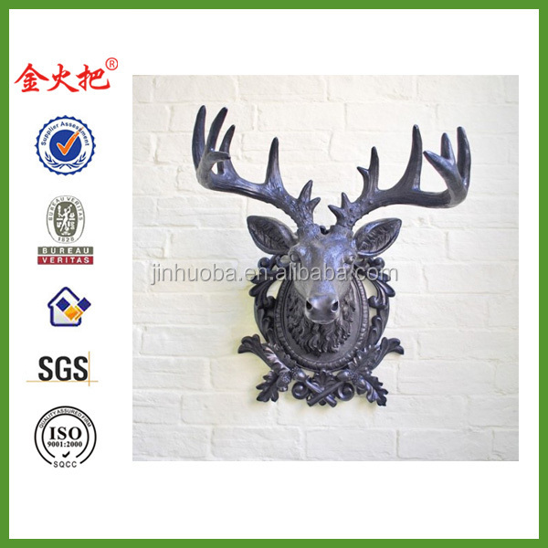 Very Large Black Resin Trophy Stags Or Deer Head For The Wall