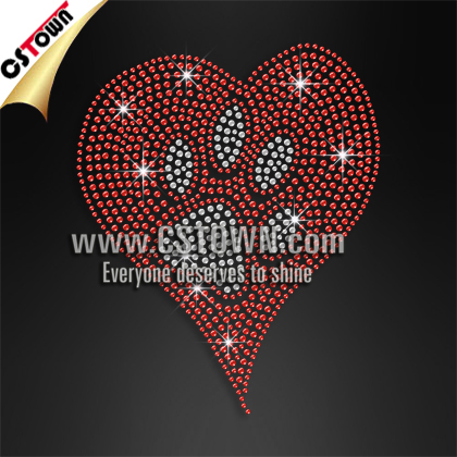 Heart and paw rhinestone hotfix bling transfers for t shirts