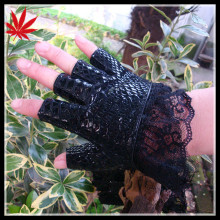 Ladies fashion half finger snake leather gloves with lace cuff,custom made