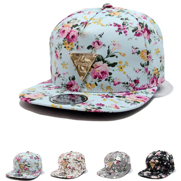 Fashion Floral Flower Snapback Hip-Hop Hat Flat Peaked Adjustable Baseball <strong>Cap</strong>