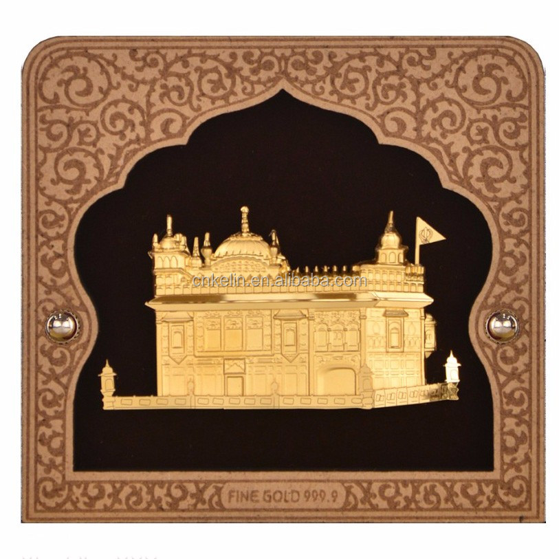3D home decoration about Golden Temple Indiaa made by 24K gold foil