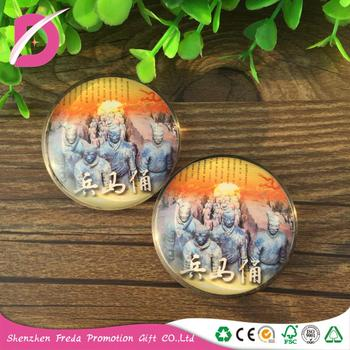 China Manufacturer Personalized 3d Terra-Cotta Warriors Glass Fridge Magnet