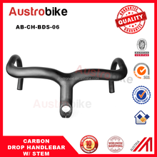 Glossy surface 3k carbon road bike handlebar integrated drop bar with stem