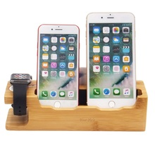 Bamboo Wood Multi-device Charging mobile cell phone Stand With Card Holder Station for watch and smart phone