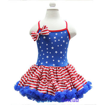 Girls 4th July Patriotic Blue Star Red Stripes Pettiskirt Pettidress Party Dress 1-7Y