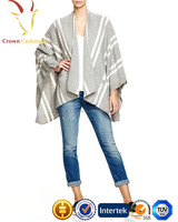 Lady Stripe Oversize Droped Open Front Cashmere Cardigan Poncho