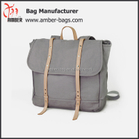 Durable weekend travel bag with leather handle