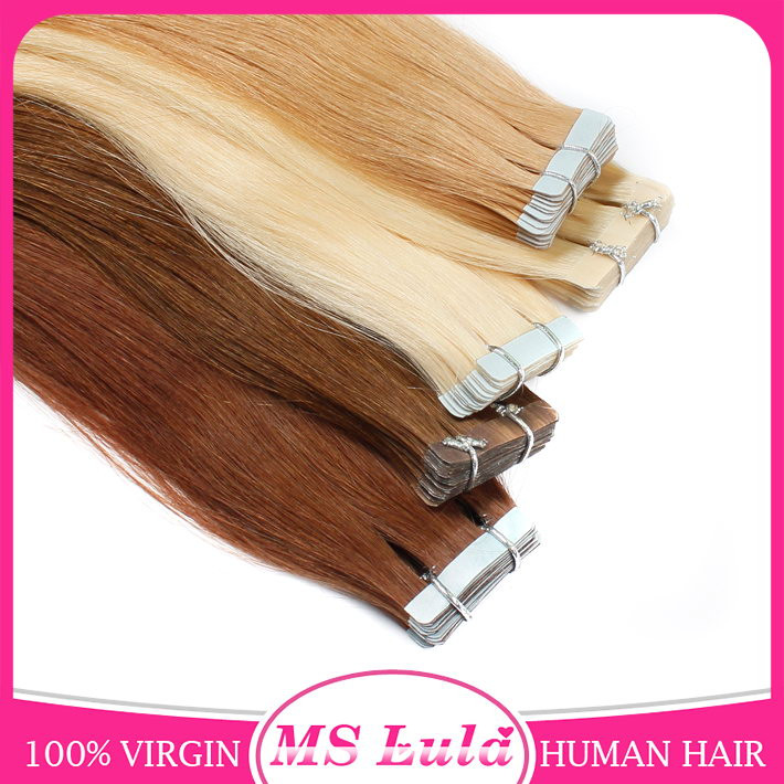 Top grade 8A wholesale price hair extension adhesive tape virgin human hair
