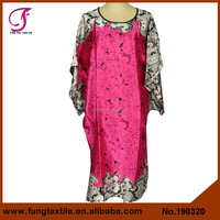 190320 Wholesales Stock Chinese Style Floral Print Woman Satin Sleeping Night Gown