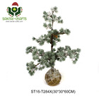 Artificial Flocked Ice Slices Christmas Tree with Moss Base, Christmas Ornament