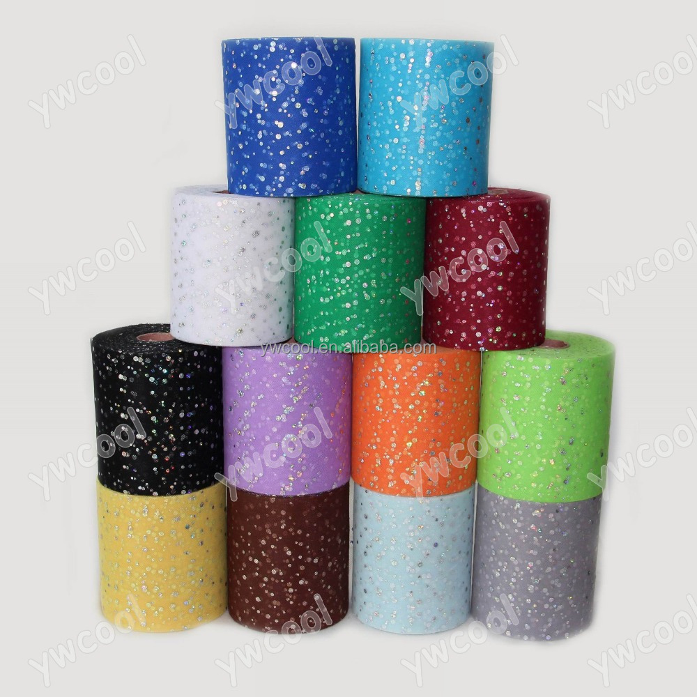 shining sequin Polyester tulle 6 inch x 100 yards spool glitter wedding facbric home decoration material