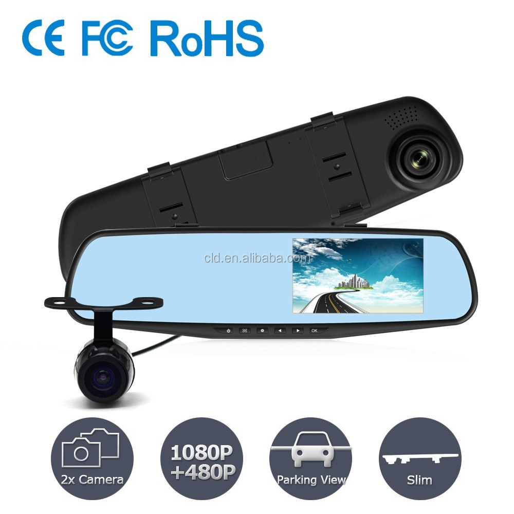 "Popular in Russia Market Blue Glass 4.3"" TFT Screen full 1080P hd 2 channel dash cam"
