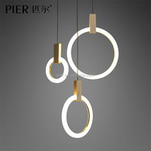 2017 New Modern Simple Wooden Pendant Light LED Circular Acrylic Chandelier For Hotel
