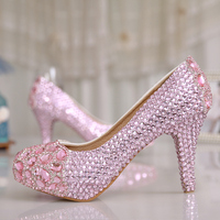 Luxurious Crystal Diamond Pink Wedding Shoes Rhinestone Party High Heels Fashion Spring 3 Inches Shining Pricess Prom Shoes