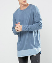 new arrival shirt crew neck blank <strong>design</strong> Long Sleeve Hem Panel extended t shirt wholesale