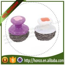 High Quality stainless steel scourer with handle stainless steel pot scrubber