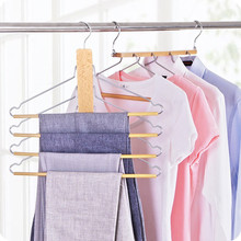 Inspring Wooden Hangers Pants Hangers Space Saver Closet Multifunctional Storage Rack for Clothes Towel Suits Trousers Tie