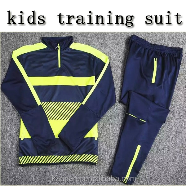 Custom design soccer wear new season kids training football suit top quality jacket and long pants
