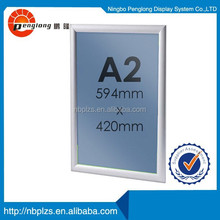easy poster changing aluminum front open Anodised Silver A2 snap frame