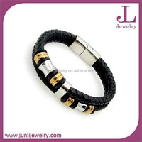Amazon Aliexpress Hot Sale Genuine Two Layers Leather Bracelet Stainless Steel Beaded Magnetic Bracelet