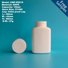 150ml Square Empty Plastic HDPE pharmaceutical pill bottle with child resistant cap