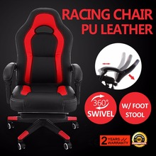 High Back Racing Chair PU Leather Swivel Computer Adjustable Height Office Chair Gaming Chair with Footrest