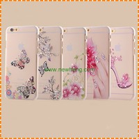 Hot sell Relief painting rhinestone Crystal Clear butterfly Hard Pc phone case for iphone7 plus