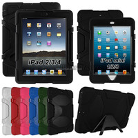 Water Resistant Shockproof Case For iPad 2 3 4 Mini4 3 21 For iPad Air 5 6 Stand Heavy Duty