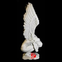 stone nude life size angel statue with crying