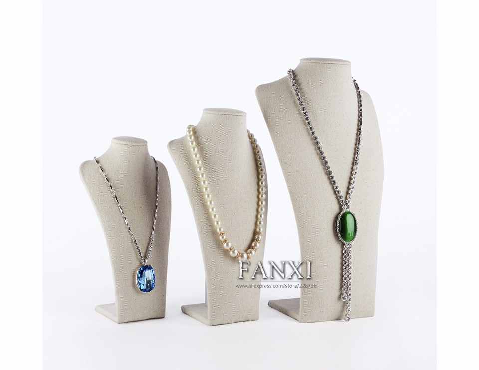FANXI China Supplier Commerical Necklace Display Bust Stands Luxury Linen Jewelry Display Showcase