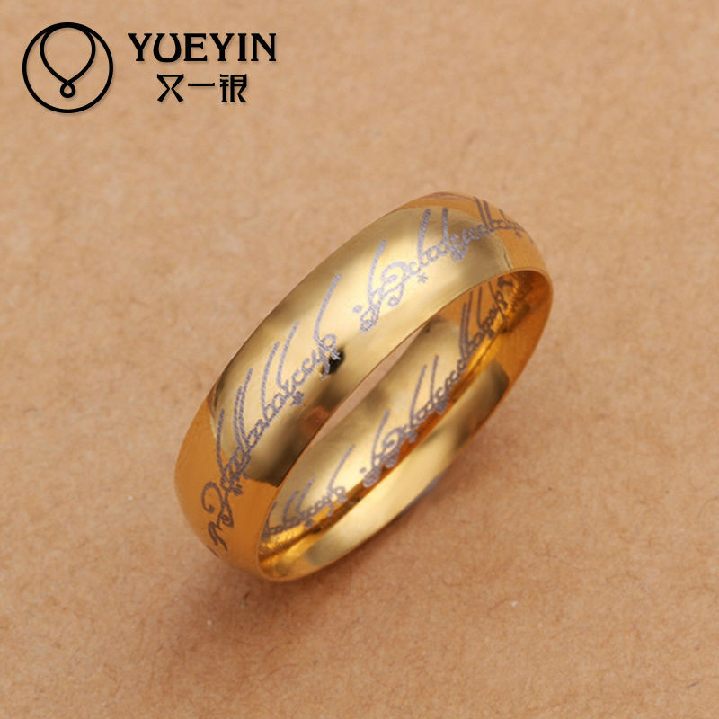 2014 muslim letter printed wholesale gold turkish rings for men