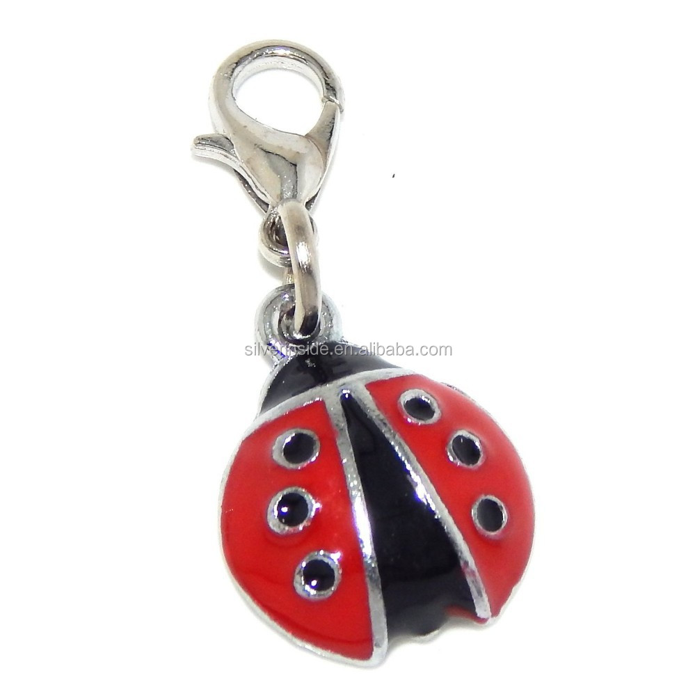 "Jewelry Monster Clip-on ""Black and Red Ladybug"" Charm Bead"