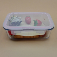 Rectangular Microwave& Oven Safe Borosilicate small Glass Container for food with plastic lids