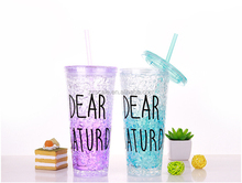 beautiful double wall plastic drinking mug with straw summer ice cup