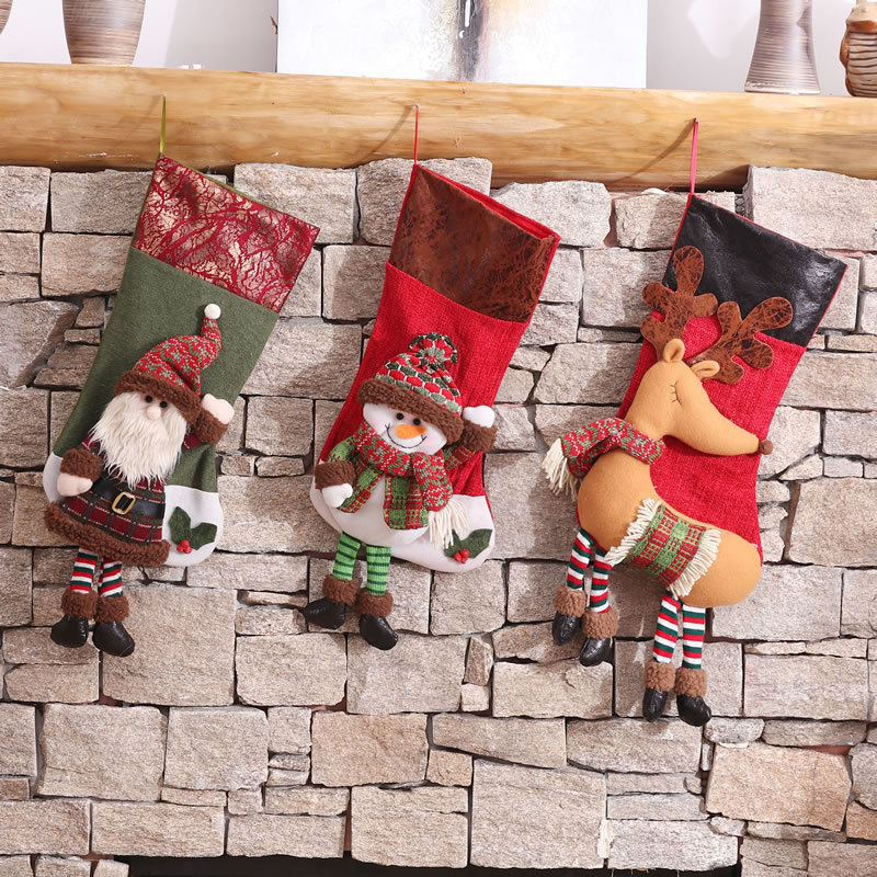 <strong>Christmas</strong> snowman reindeer decoration gift bag <strong>christmas</strong> hanging socks stocking