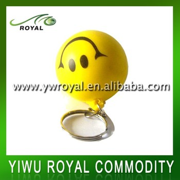 Yellow Smily Face Soft Foam Ball PU Stress Keychain