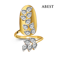 Wholesale - Charming Light Weight 925 Sterling Silver Nail Ring With Cubic Zirconia in 18K White Gold Plated