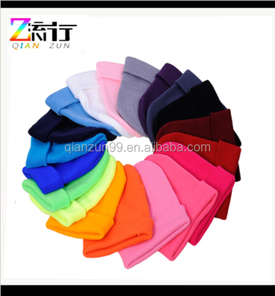 Wholesale High Quality Colorful Custom Acrylic Winter Plain Cheap Neon Beanie Hat