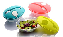 Fashionally designed plastic lunch box with cutlery and saucer container