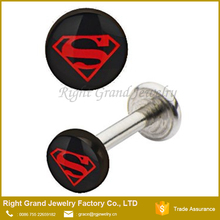 Internally Threaded Superman Logo epoxy Lip Labret Studs