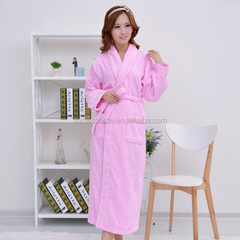 Sexy photo of women soft feeling nightwear 100% cotton bathrobe pink color