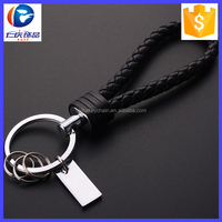 2016 Hot Leather Key Chain Woven Keychain Leather Cord Leather Knitted Bag Charm Keyrings Car Key Ring