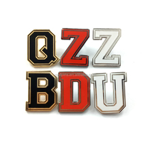 Custom Design A to Z Small Brass Alphabet Letters Logo Pin Metal Enamel Badges For Car Emblem Or Hat Decorate