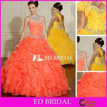 Ball Gown Sweetheart Floor Length Organza Yellow Quinceanera Dresses 2012 With Crystal Ruffle
